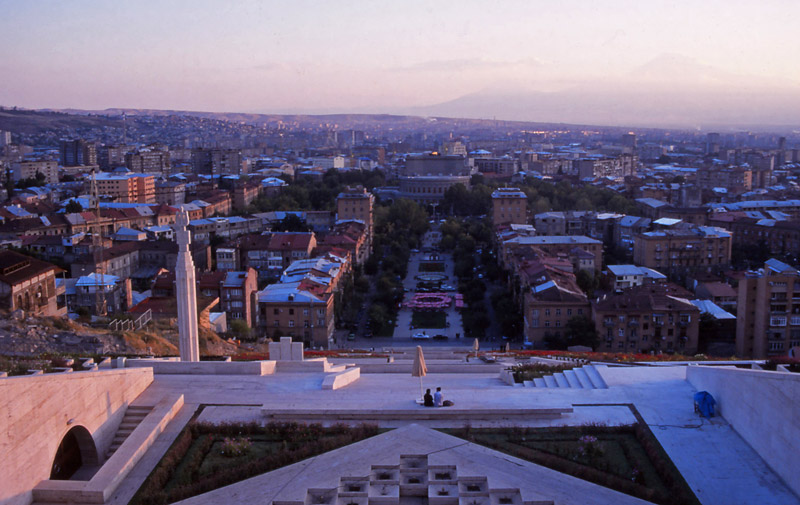 View of the capital Yerevan from the top of Kaskad, a monumental staircase marking the 50th anniversary of Soviet Armenia