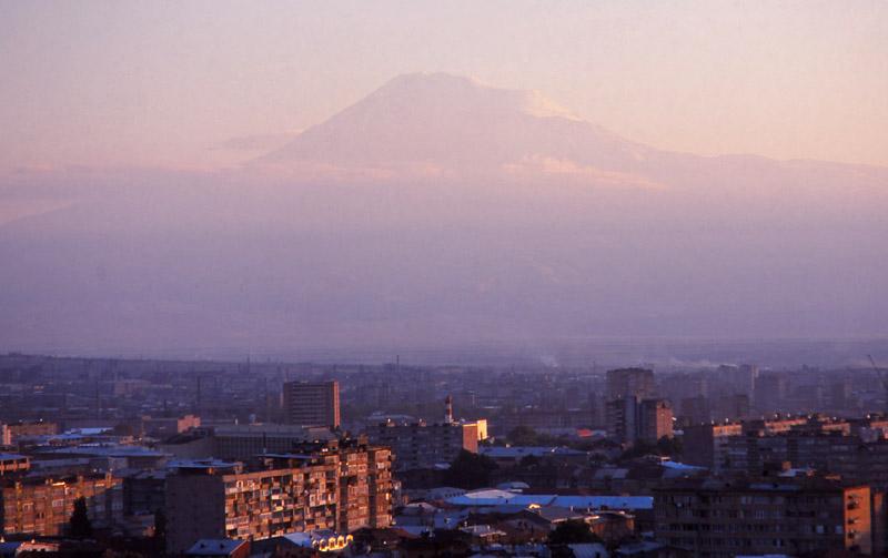 Mt Ararat, the Biblical landing place of Noah's ark, looms over Yerevan from across the border in Turkey