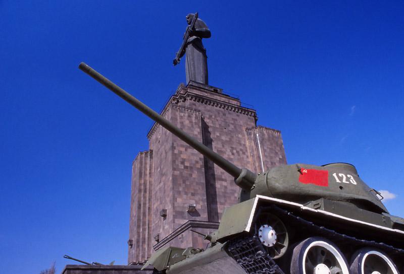 A Soviet World War II tank next to Mother Armenia, Yerevan