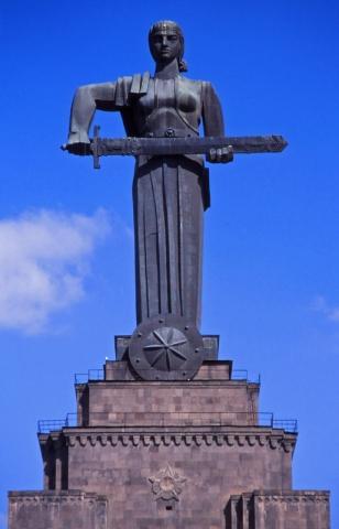 The 23m-tall Mayr Hayastan (Mother Armenia) towers over Yerevan