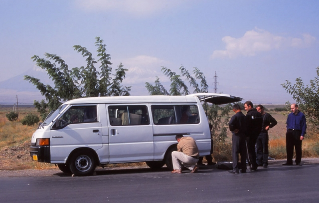 The first of two flat tyres on the minibus trip from Yerevan to Areni. The driver didn't carry a spare