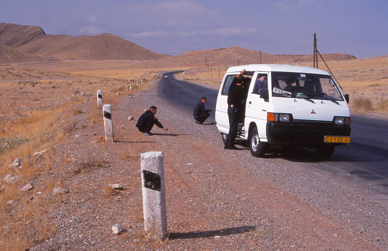 The second puncture was in an even more desolate spot. The driver still didn't have a spare