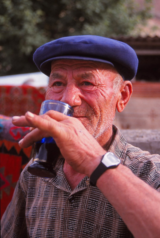 A wine maker at Armenia's first National Wine Festival in Areni village