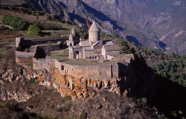 Tatev Monastery, on the edge of the remote Vorotan Canyon, was built in the 9th century