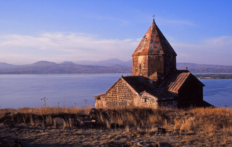 The 9th century Sevanavank Monastery by Lake Sevan, 2000m above sea level