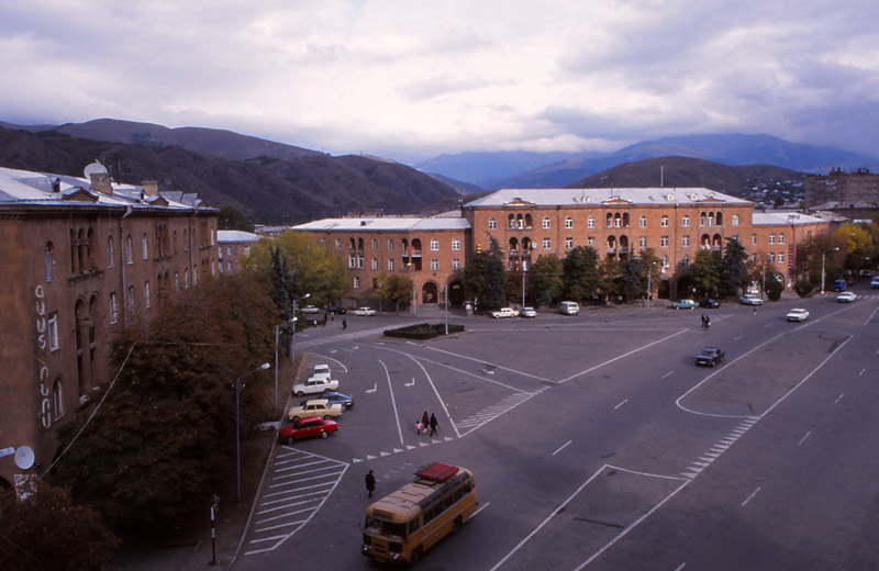 View from my hotel window over the main square of Vanadzor