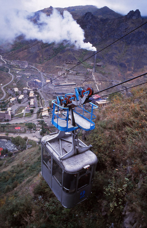 Soviet-era cable cars are the main transport from the bottom of Debed Canyon to villages perched on the canyon rim