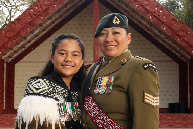 February: Manea Albert-Renata and her mum Leigh Albert, a sergeant in the NZ Army, at the opening of a new museum dedicated to the 28th Māori Battalion. Photo: Peter de Graaf