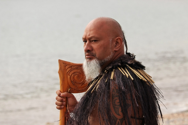 February: Arapeta Barber awaits the waka [canoes] on Tii Beach during Waitangi Day commemorations. Photo: Peter de Graaf