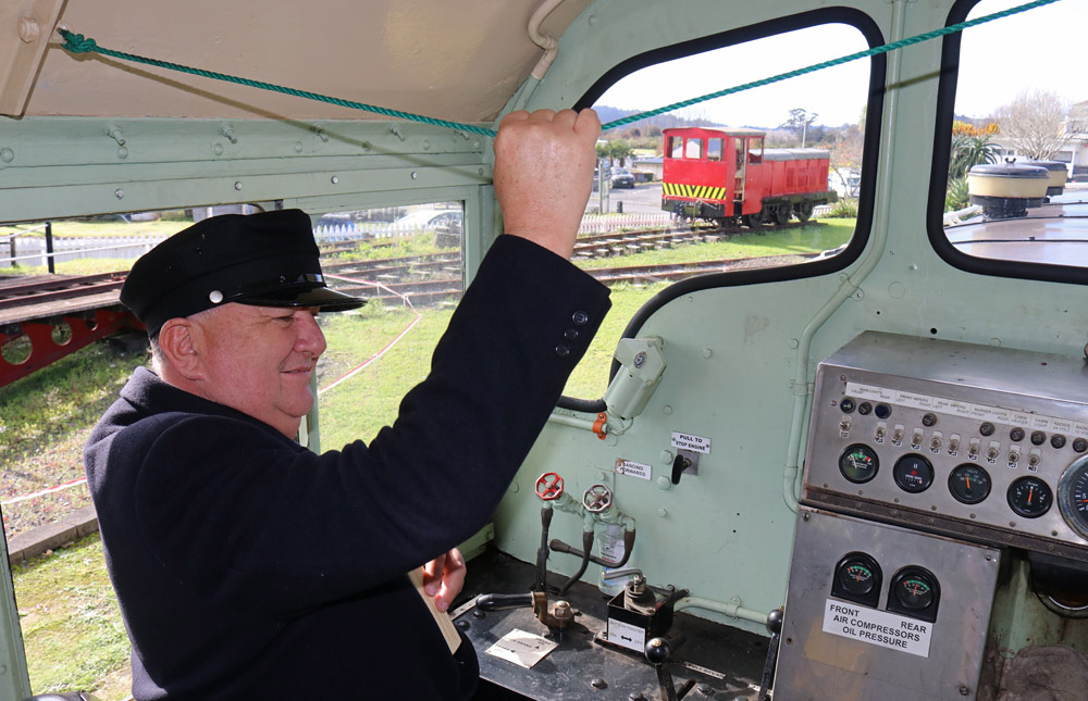July: Regional Economic Development Minister Shane Jones takes a locomotive for a drive after a funding announcement for the Bay of Islands Vintage Railway. Photo: Peter de Graaf