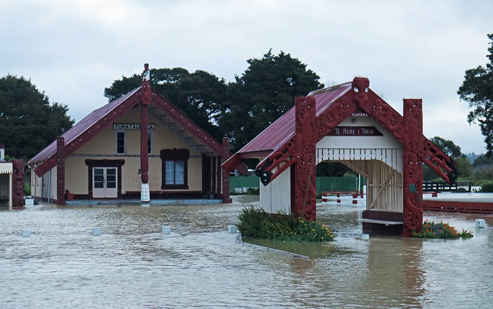 July: Floodwaters surround Otiria Marae, near Moerewa, during record-breaking rain. Photo: Peter de Graaf