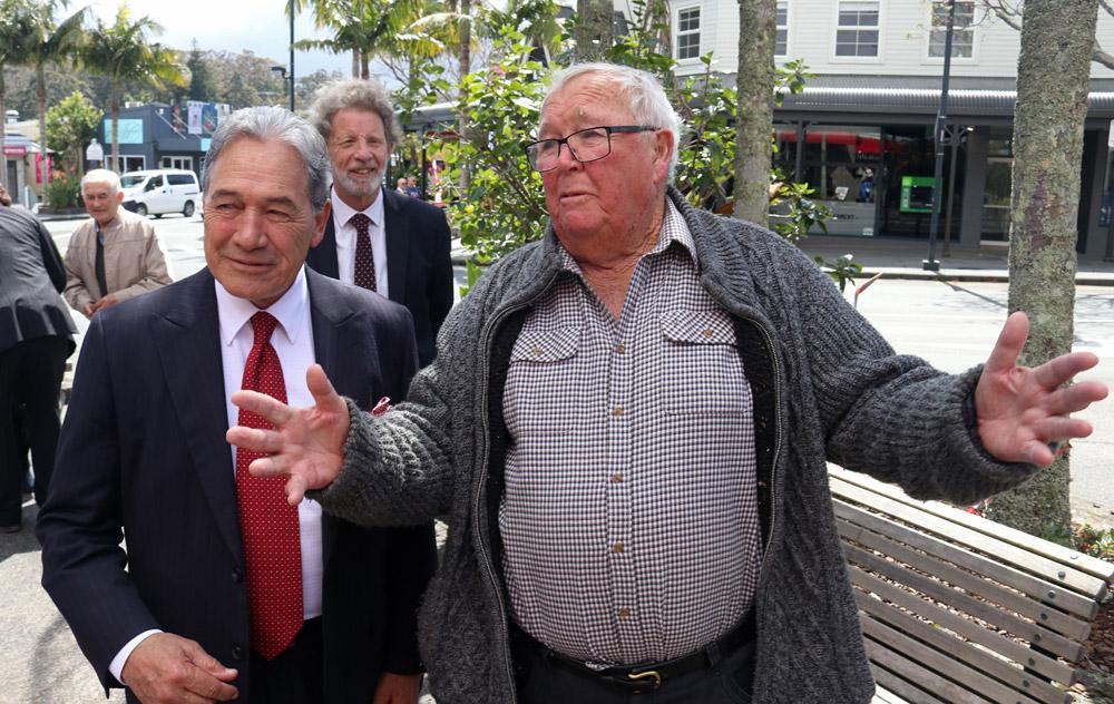 September: Ernie Taylor regales NZ First leader Winston Peters during a campaign visit to Kerikeri. Photo: Peter de Graaf