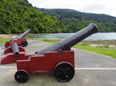 Cannons at Ship Cove, the track's starting point.