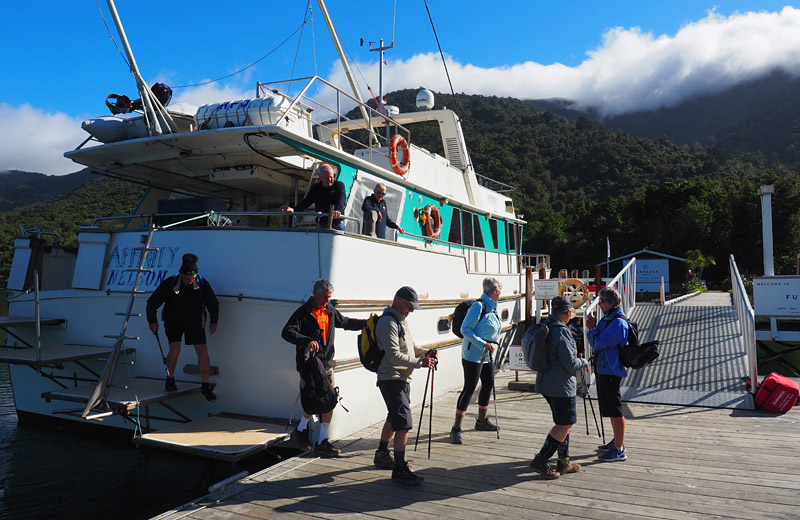 The adventure begins as walkers are dropped off at Ship Cove, starting point of the Queen Charlotte Track.