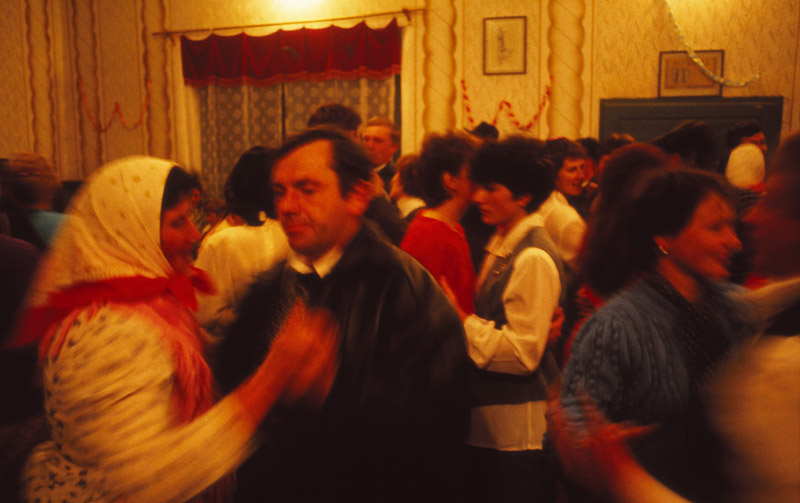 The entire population of Rovensko gathers to dance in the House of Culture during harvest celebrations