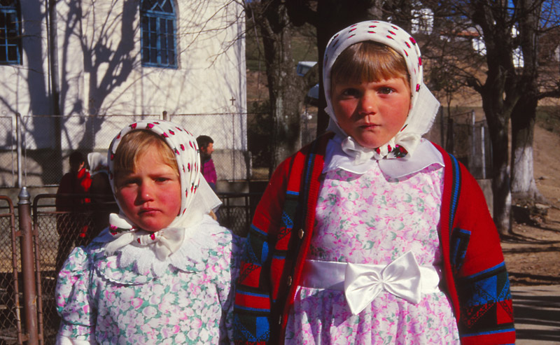 Sisters on their way to church in Rovensko