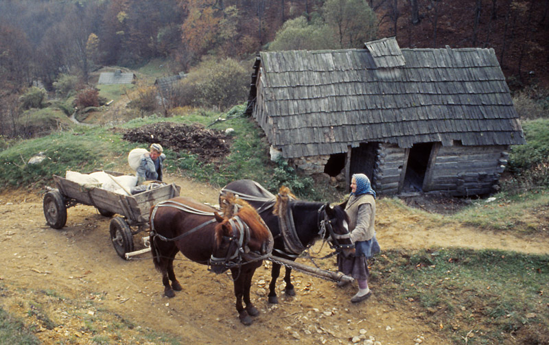 A miller loads his cart with freshly ground flour at a water mill near Garnic village
