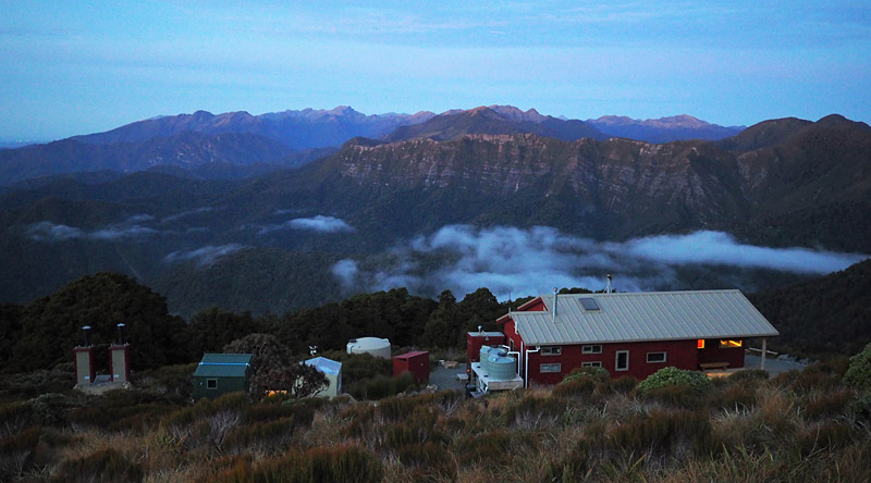 Moonlight Tops Hut at dusk