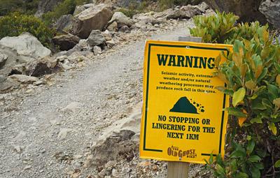Warning sign at the Boneyard.