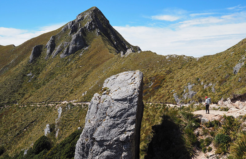 """""""The Tombstone"""" looms beside the track as it crosses the Lyell Range."""
