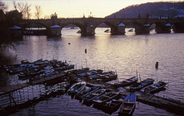 Rowboats tied up for winter on the Vltava River, Prague