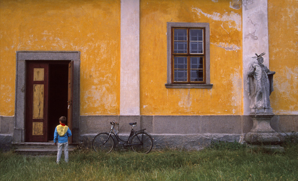 Still life with boy and bicycle, somewhere in Bohemia