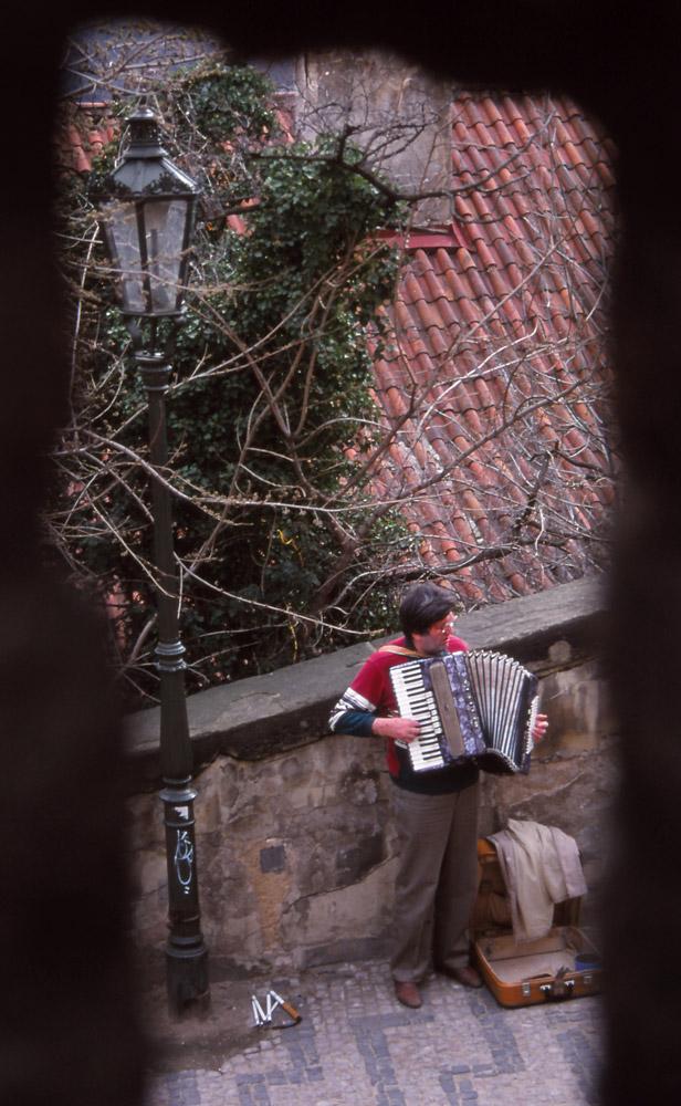 Blind busker in Prague's Castle District