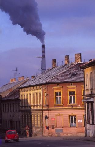 Smoke billows from the city heating plant in České Budějovice