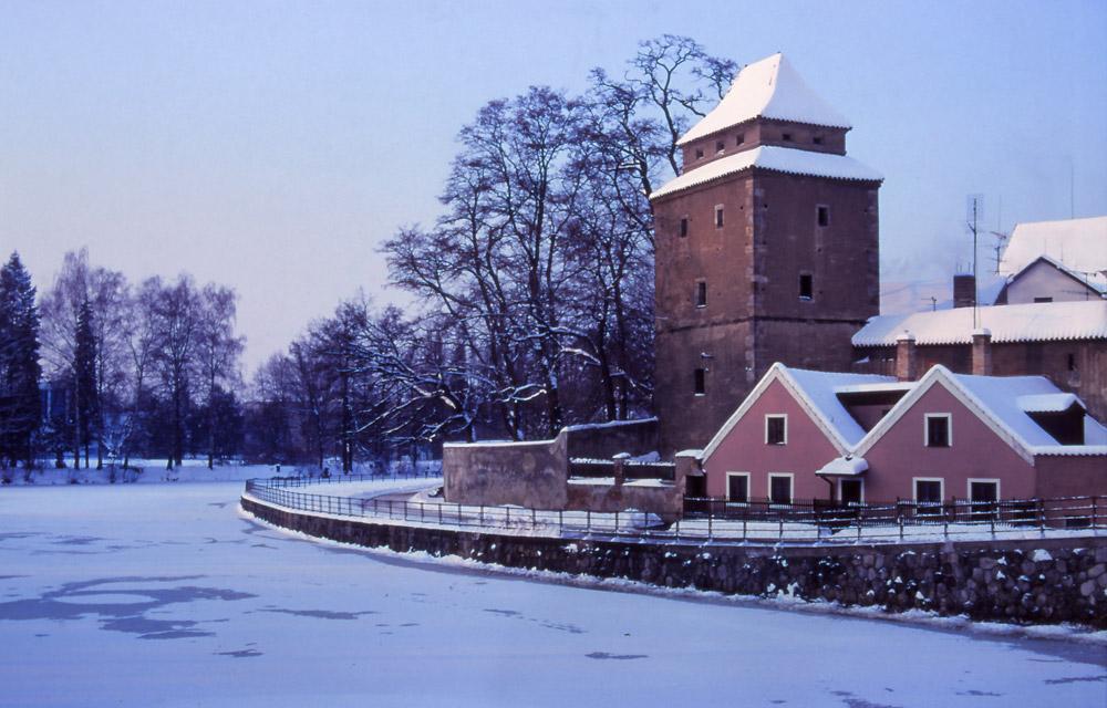 A frozen Malše River with the 14th century Iron Maiden tower, České Budějovice