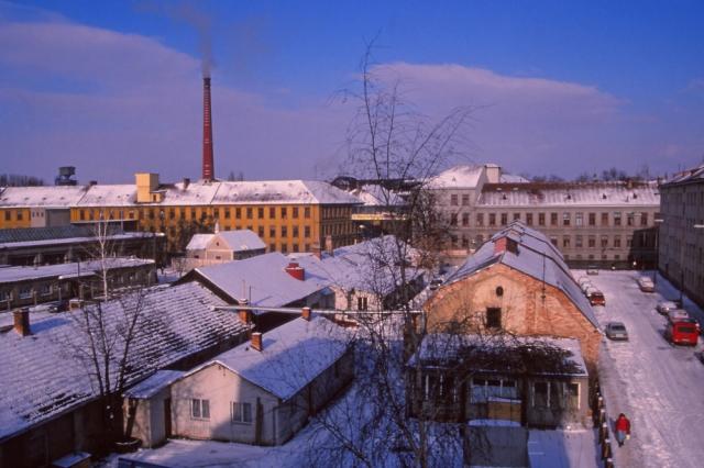 View of Koh-i-noor pencil factory from my window on Komenského Street, České Budějovice