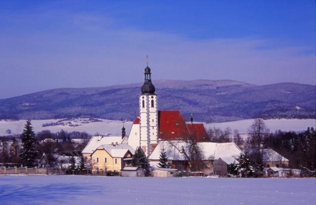Village church in a wintry South Bohemia