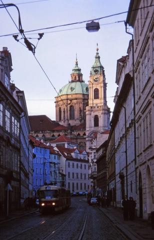 St Nicholas Church and tram in Prague's Malá Strana quarter