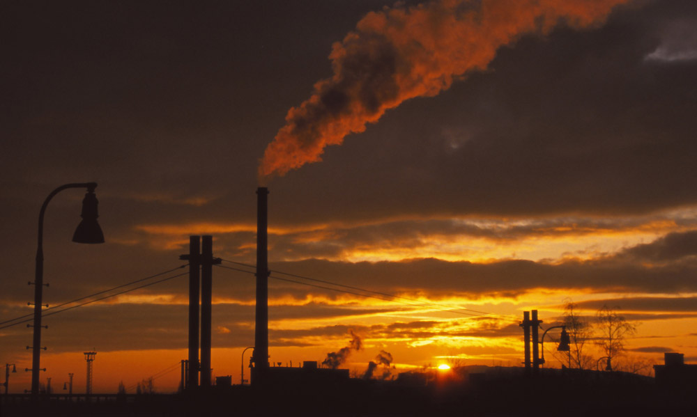 The city heating plant as seen from the railway yards, České Budějovice