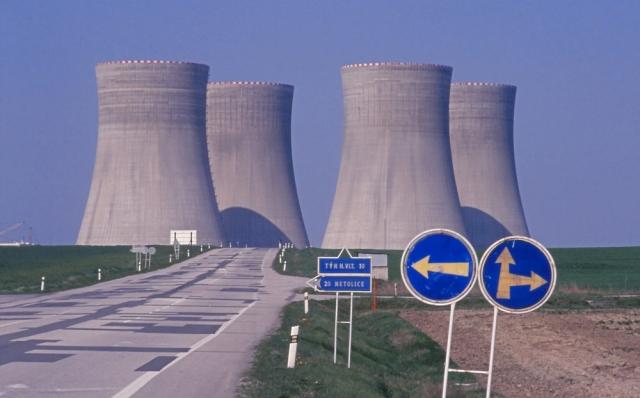 The cooling towers of Temelín nuclear power plant dominate the landscape north of České Budějovice