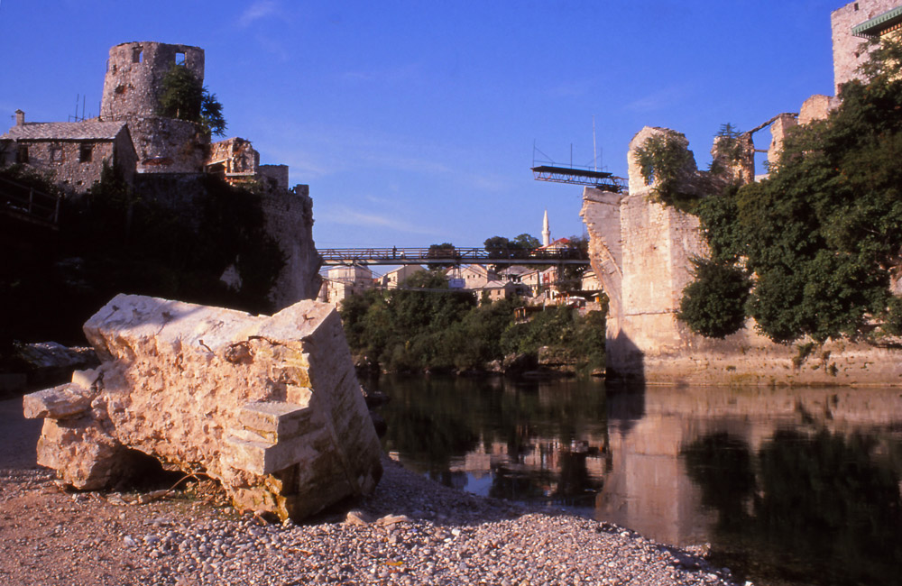 Bosnia, 1999: Ruins of the 16th century Stari Most (Old Bridge), a Bosnian national symbol destroyed by Croatian forces in 1993