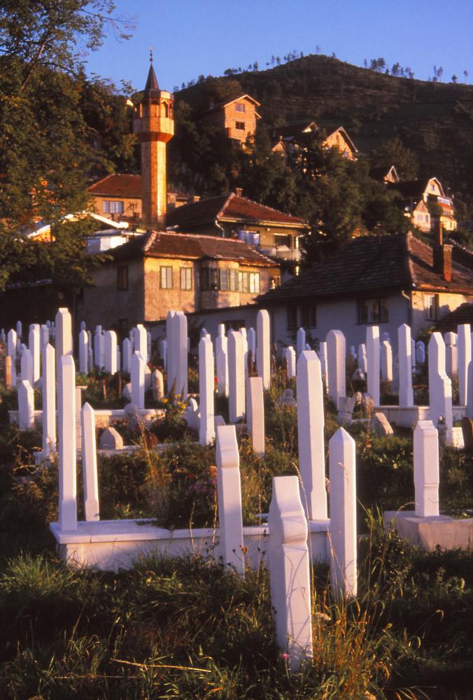 Bosnia, 1999: New gravestones in a Muslim cemetery in Sarajevo