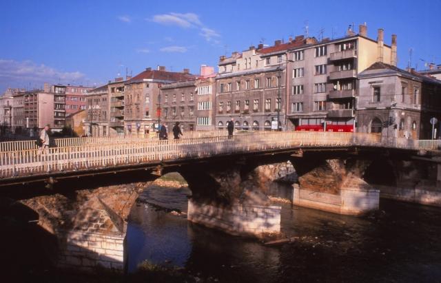 Bosnia, 1999: Latinski Most (Latin Bridge) in Sarajevo where Serb nationalist Gavrilo Princip shot Austrian Archduke Franz Ferdinand in 1914, sparking World War I