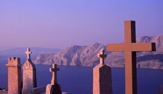 Croatia, 1999: Baška cemetery, on the island of Krk, overlooks the Adriatic Sea and the rugged Dalmatian coast