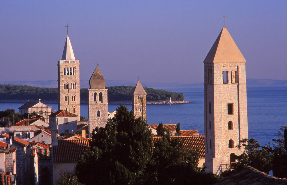 Croatia, 1999: Church towers in Rab, a historic town on the island of the same name