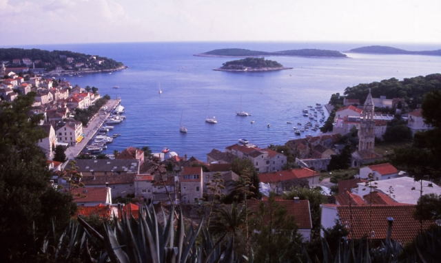 Croatia, 1999: The picturesque harbour of Hvar on the island of the same name