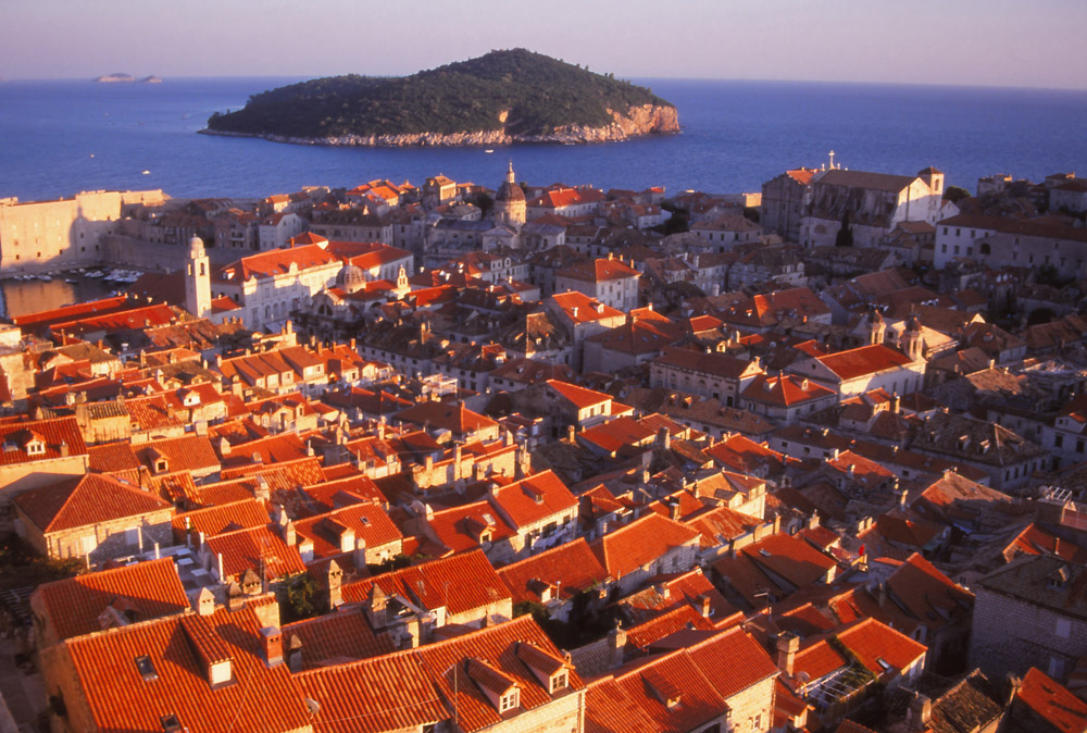 Croatia, 1999: View over the terracotta roofs of Dubrovnik's fortified old town