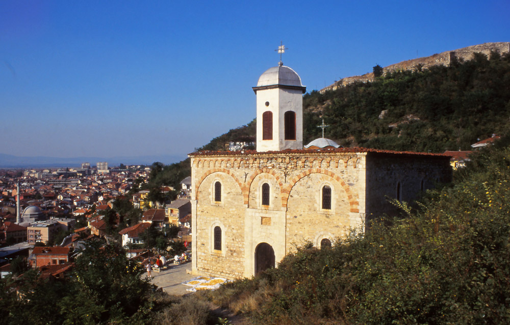 Kosovo, 1997: The 14th century Serbian Orthodox Church of the Holy Saviour before it was badly damaged in unrest in 2004
