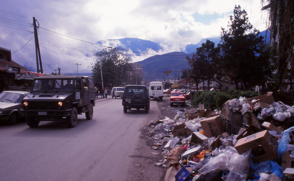 Kosovo, 1999: Rubbish piles up on the streets of Peja after the Kosovo War