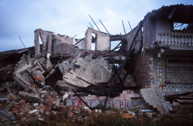 Kosovo, 1999: Homes destroyed in ethnic cleansing along the road from Peja to Prizren