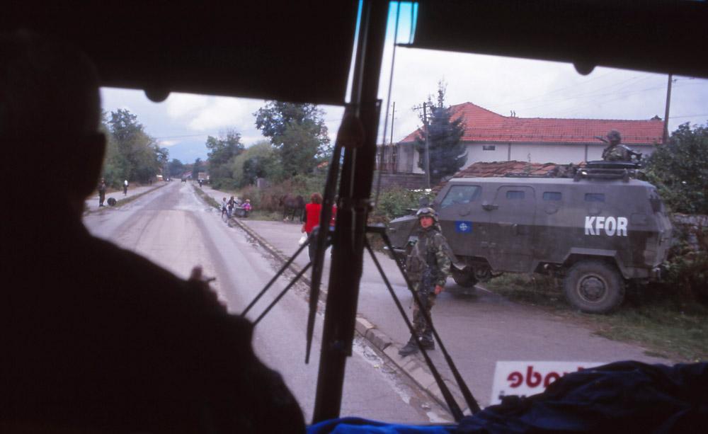 Kosovo, 1999: A Nato-run KFOR (Kosovo Force) checkpoint between Peja and Prizren. Photo: Peter de Graaf