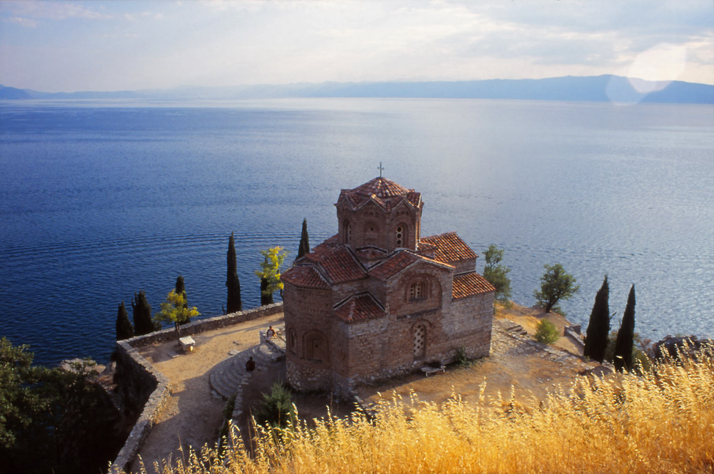 Macedonia, 1999: The 15th century church of Sveti Jovan perches on the shore of Lake Ohrid