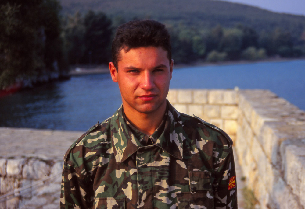 Macedonia, 1997: A navy serviceman in landlocked Macedonia (the country has two lakes with International borders)