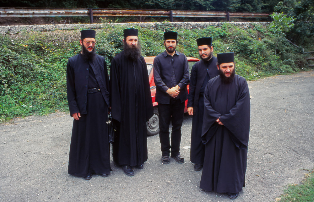 Macedonia, 1997: These monks of the Monastery of St Jan Bigorski stopped to offer me a lift while I was hitch-hiking