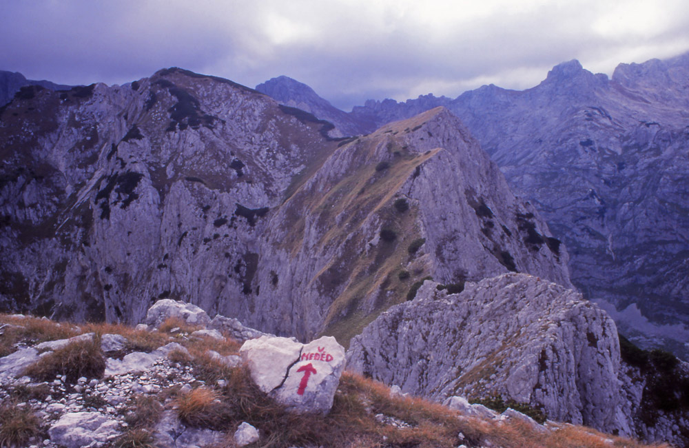 Montenegro, 1999: Track marker in Durmitor National Park