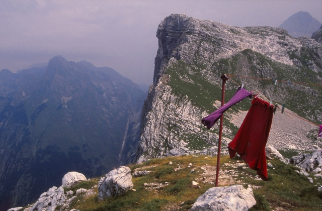 Slovenia, 1994: The author's clothes hang out to dry after a thunderstorm in the Julian Alps